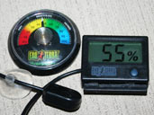 Humidity gauges or hygrometers are vital for monitoring the humidity with a Rainbow Boa enclosure